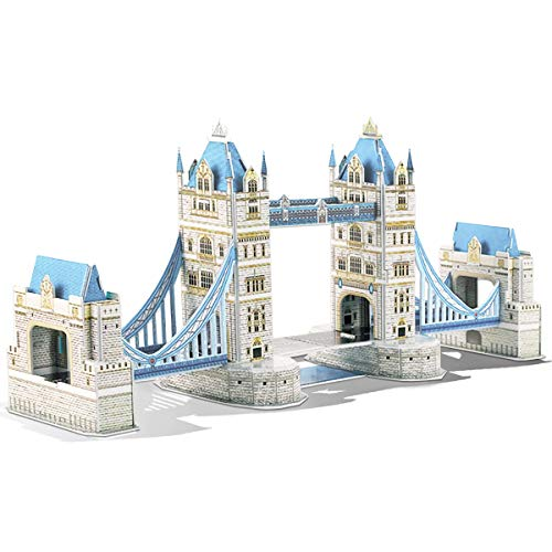 GuDoQi 3D Puzzles for Boys Girls and Adults, London Tower Bridge Jigsaw Puzzles, 3D Paper Model Kit to Build, Family Games for Little Kids and Parents, DIY Assembly Toy Gift