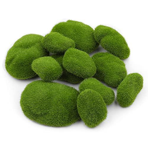 Zalava 12 Stück Künstliche Moos Steine Mooskugel Kleine Moos Felsen Grüne Moosbälle Deko Simulation Moos für Blumentopf, Garten, Terrarien, Topfpflanzen Dekoration, Mikrogarten