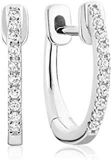E-10081 10K Gold Diamond Hoop 14MM Earrings