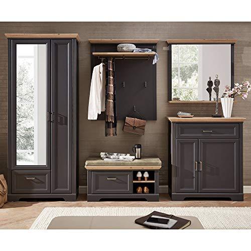 Lomadox Landhaus Garderoben-Set mit Dielenschrank in Graphit mit Artisan Eiche - Breite: 320cm