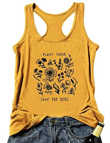 Dresswel Plant These Save The Bees T Shirt Damen Kurzarm Rundhals T-Shirt Hemd Oberteile Niedlich Biene Pflanzen Grafikdruck Tee Shirts Sommer Tops