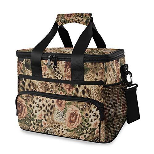 LINPM Kühltasche, Stoff mit Stoffdruck, gestreifte Leopardenblüte 15L Große isolierte Lunch-Tasche Picknickkühler, Kühltasche