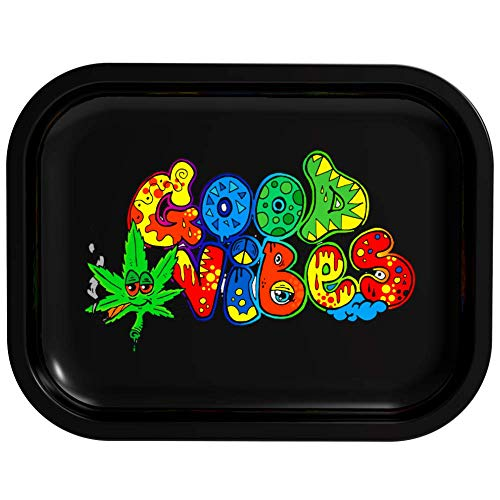 Metal Rolling Black Rolling Tray Color Unique Rolling Trays (Good Vibes)