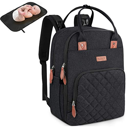 Baby Wickelrucksack Multifunktional Wickeltasche Rucksack mit Wickelunterlage Große Kapazität babytasche wickeltasche Reisetasche für Unterwegs Passform für Kinderwage Schwarz