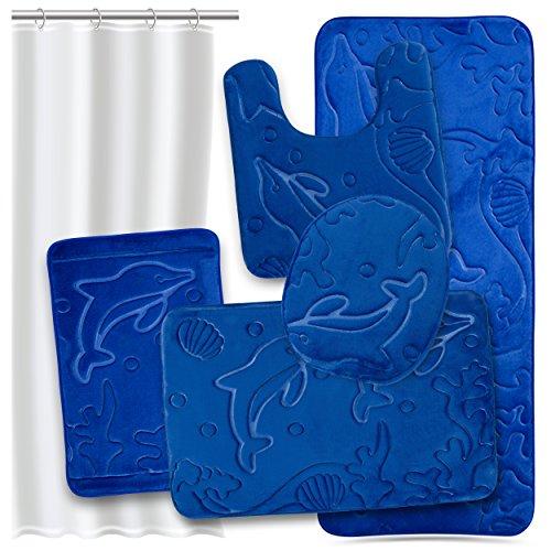 Effiliv Bathroom Rugs Set 5 Piece Memory Foam Mats + Eva Shower Liner, Extra Soft Anti-Slip Shower Large Bath Rugs – Happy Feet, Happy Life, Royal Blue