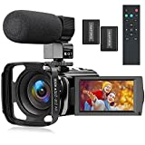 Video Camera Camcorder Full HD 1080P Vlogging Camera for YouTube 30FPS 24 MP 3.0 Inch IPS Screen 16X Digital Zoom Remote Control Digital Camera Recorder with Microphone, Lens Hood, Two Batteries