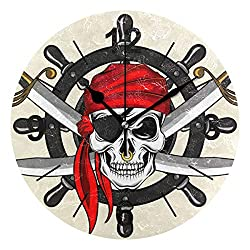 VVIEER Vintage Easy to Hang Round Home Decor Silent Double Sword Pirate Skull Steering Wheel Wall Clock Non Ticking 10 Inch