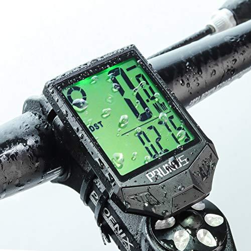 PRUNUS [Aktualisiert] Fahrrad Tachometer wasserdichte IP66 Fahrradcomputer Kabellos mit 20 Funktionen, Rad-Tacho mit Auto an/aus für Outdoor-und Indoor-Tracking