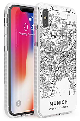 Case Warehouse Mapa de Munich, Alemania Impact Funda para iPhone XR TPU Protector Ligero Phone Protectora con Viaje Pasión De Viajar Europa Ciudad Calles