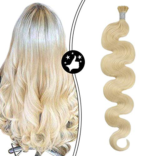 Moresoo 22 Inch I Tip Hair Extensions Remy Hair Stick Hair Extensions Human Hair Color Bleach Blonde Keratin Hair Extensions Wavy Hair 0.8g/1Strand Total 40g/50Strands Per Pack