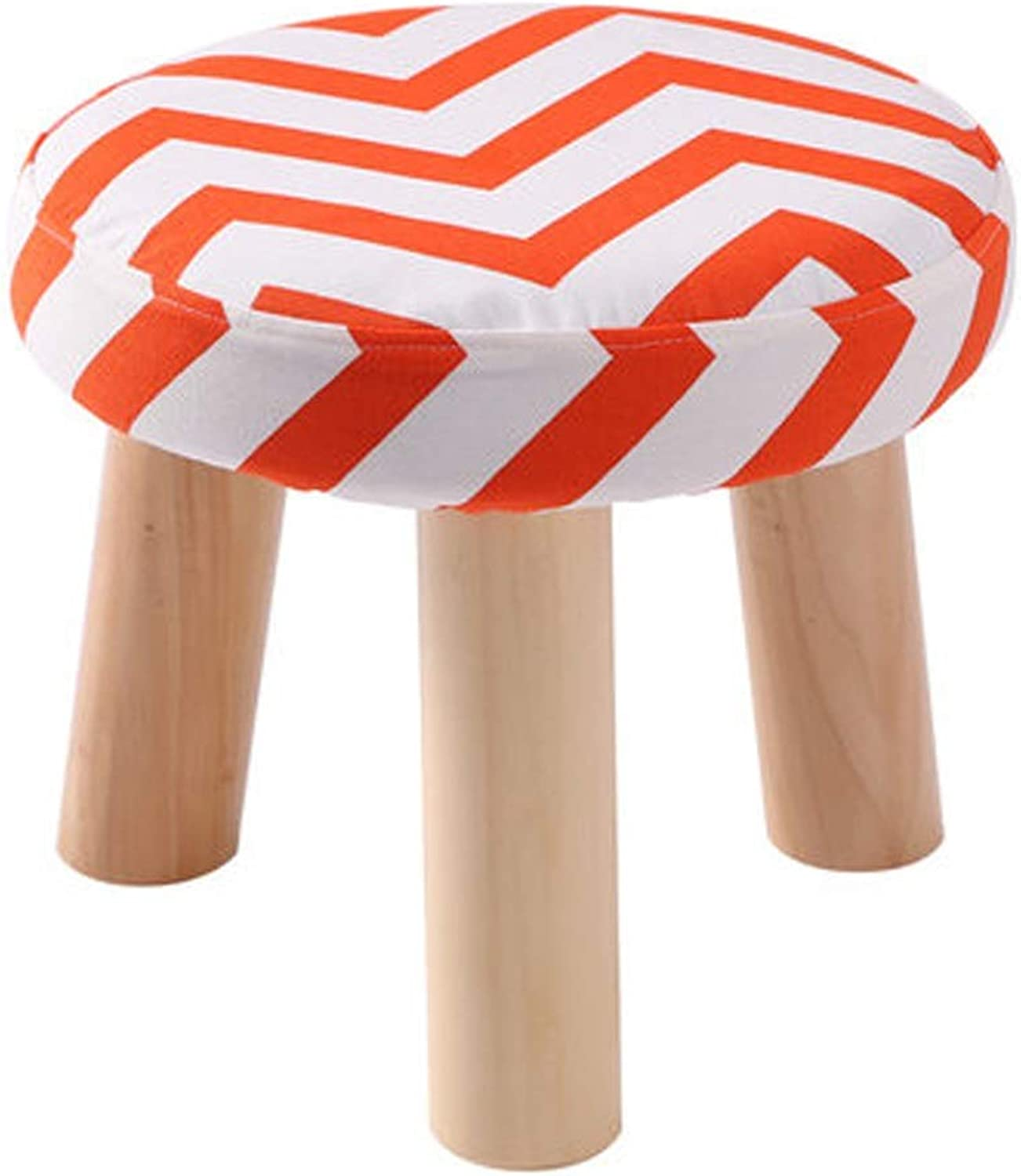 AINIYF Classic Round Foot Stool Round Padded Foot Rest Stool Wooden Legs Linen Fabric Cover with Wooden Legs (3 Leg Stands) (color   orange)