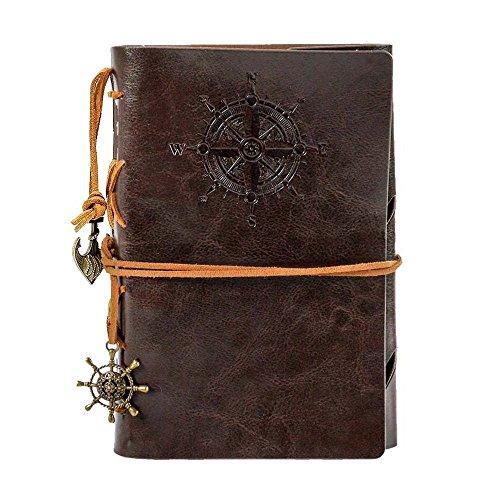 Reise tagebuch, retro notizbuch, nachfüllbar, Spiralbindung, klassisch, geprägt, Reise-Tagebuch, mit Blanko-Seiten und Retro-Anhängern.185 * 130CM