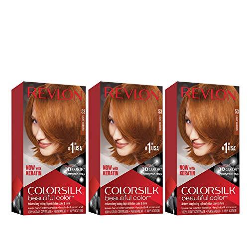 REVLON Colorsilk Beautiful Color Permanent Hair Color with 3D Gel Technology & Keratin, 100% Gray Coverage Hair Dye, 53 Light Auburn, 4.4 oz (Pack of 3)