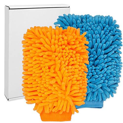 Lackschonende Mikrofaser Waschhandschuhe, extrem saugstark und schonend weich, für Nassreinigung mit z.B. Shampoo, streifenfreie Reinigung, Autowaschhandschuh, Microfasertücher Auto, Felgenhandschuh