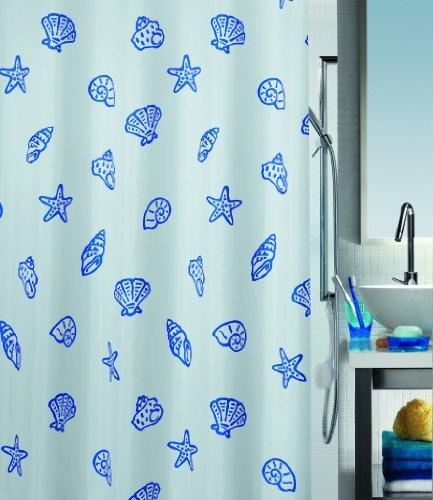 Spirella 1004603 Duschvorhang Concha Marine B x H: 180 cm x 200 cm, Blau