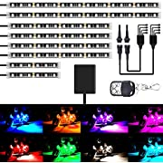 AMBOTHER 8Pcs Motorcycle LED Light Kits Strips DC 12-volt Waterproof RGB Multi-Color Underglow Neon Ground Effect Atmosphere Lights with Remote and Adhesives Clips