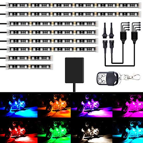 AMBOTHER 8Pcs Motorcycle LED Lig...