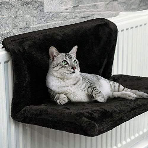 AngYou Cama de Gato Suave, Hamaca cómoda, casa móvil, alféizar de Ventana Radiador de Gatos, Hamaca Suministros para Mascotas de cojín Suave para Gato (Color : Black, Size : 46x30x25 cm)