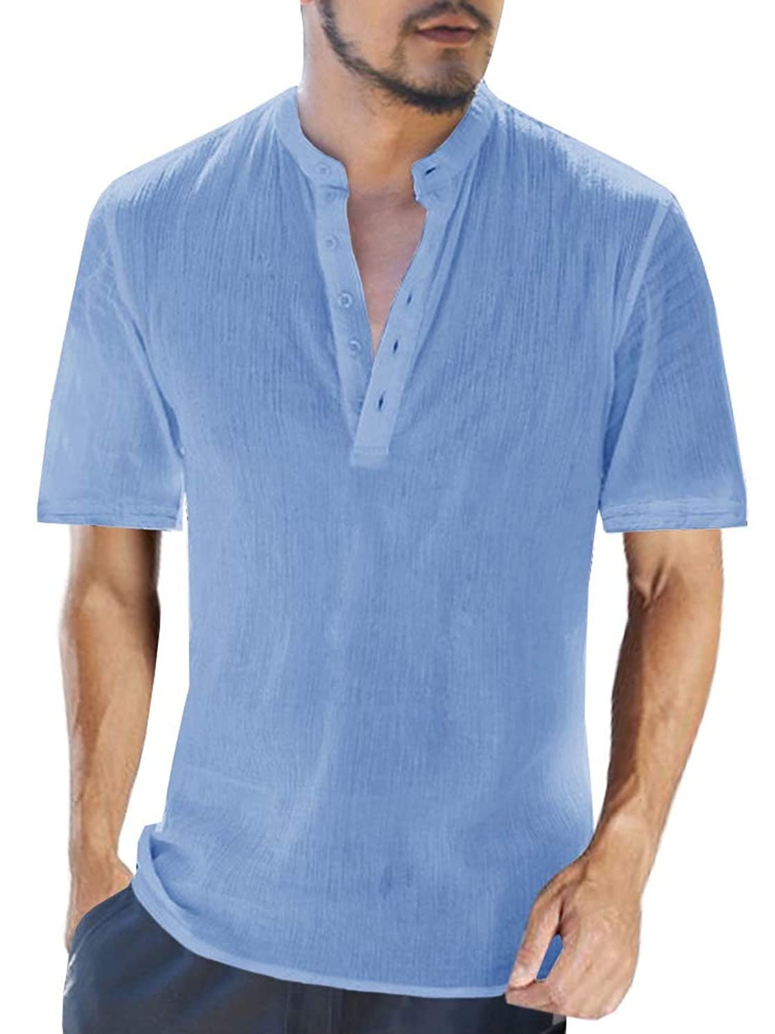 Beotyshow Mens Stylish Short-Sleeve Tops, Mens Round Neck Henley Shirts Casual Cotton Menswear for Office