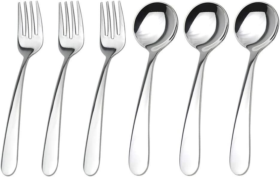 WEKTUNAA Stainless Steel Child Toddler Flatware Set-6 pieces-Kids Fork and Spoon, Mirror Polished, Steel Utensils for Toddler and Child