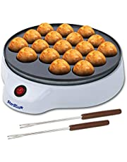 StarBlue Takoyaki Maker Gratis Takoyaki Spiesjes - Eenvoudig te Bedienen Elektrische Machine voor de Productie van Japanse Takoyaki Octopus Ballen AC 220-240V 50/60Hz 650W, UK-stekker, Europa-adapter Inbegrepen