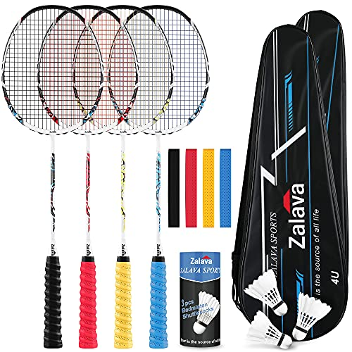 Professional Badminton Rackets Lightweight Badminton Racquets Set, Zalava Badminton Set 4 Pack,Carbon Fiber, 3 Feather Shuttlecocks, 2 Protect Case, 4 Overgrip Included,For Beginners ,Advanced Players