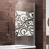 Schulte D1650 Duschwand Komfort, 80 x 140 cm, 5 mm Sicherheitsglas Floral, chromoptik, Duschabtrennung für Badewanne