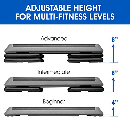 Yes4All KC6V Adjustable Aerobic Step Platform 40 inch with 4 Risers - Step Board Exercise Equipment Black/Gray