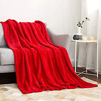 MIULEE Fleece Throw Blanket with Stripe Pattern Fuzzy Flannel Red Blanket for Couch Plush Warm Cozy Bed Blanket Boho Decor for Bed Sofa Chair Twin Size 60 x80