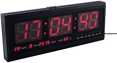 FTVOGUE Rojo Reloj de Pared Digital LED Grande con Indicador de Temperatura de Fecha Cambio de