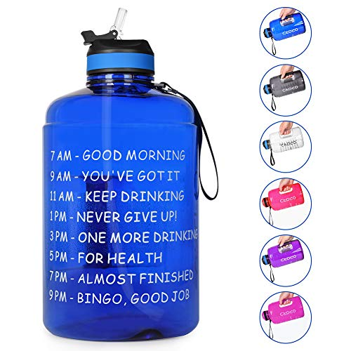 Opard Gallon Water Bottle with Time Marker Straw and Handle 128oz 1 Gallon Water Jug BPA Free Motivational Big Large Sports Water Bottle for Gym Fitness (Blue)