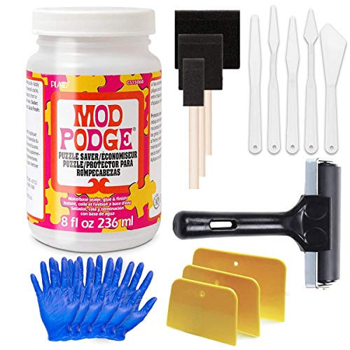 Mod Podge Puzzle Saver Glue Kit, Adhesive Brushes for Jigsaw Puzzles, Boards, Mats, with Pixiss Accessory Kit