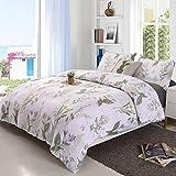YMY Lightweight Microfiber Bedding Duvet Cover Set, Floral Print Pattern (King)