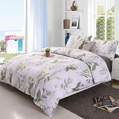 YMY Lightweight Microfiber Bedding Duvet Cover Set, Floral Print Pattern (Queen)