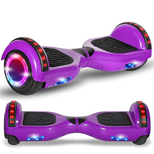 Beston Sports Newest Generation Electric Hoverboard Dual Motors Two Wheels Hoover Board Smart self Balancing Scooter with Built in Speaker LED Lights for Adults Kids Gift (Classic Purple)
