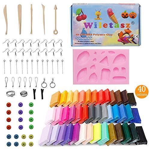 wiletasz Polymerica-Ton, 40 Farben, weich, zum Basteln, ungiftig, für Kinder, Tonblöcke zum Backen im Ofen, bunte Modellierarbeiten