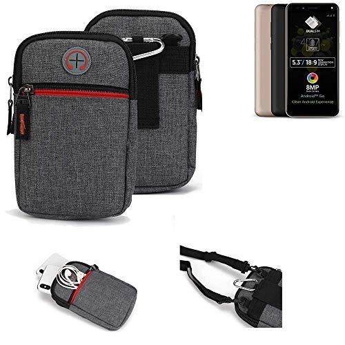 K-S-Trade® Gürtel-Tasche Für Allview A9 Plus Handy-Tasche Holster Schutz-hülle Grau Zusatzfächer 1x