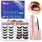 SKEY Magnetic Eyelashes Kit - 10 Pairs Different Styles Reusable 3D 5D Magnetic Lashes Set with 2 Special Magnetic Eyeliner and Tweezer, Faux Mink False Eyelashes Natural Look, No Glue Needed