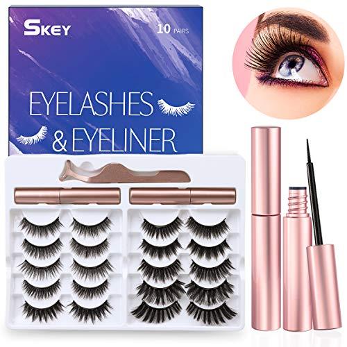 SKEY Magnetische Wimpern, 10 Paar Künstliche Wimpern und 2 wasserdicht magnetischer Eyeliner, softe und wiederverwendbare 3D Wimpern, Geschenk für Frauen