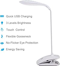 DEEPLITE Clip Light, LED Clip lamp 3 Level Brightness Dimmable, Battery Operated Reading Light for Desk, Bed Headboard, Flexible Gooseneck, Touch Control
