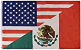Trade Winds USA American 50 Star Mexico Mexican Diagonal Combo Combination Friendship 3x5 3'x5' Premium Quality Heavy Duty Polyester Flag