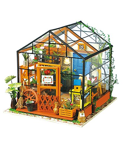 Robotime 3D DIY House Kit Greenhouse with LED Light Miniature Model Making Woodcraft DollhousePuzzle Challenge Gift