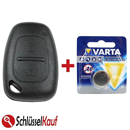 KONIKON Schlüsselgehäuse Funk Fernbedienung 2 Tasten Gehäuse mit Batterie Autoschlüssel Batterie Ersatz Neu passend für Renault Opel Trafic Master Movano Vivaro