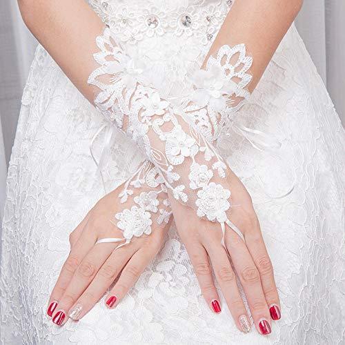 GBSTA Vingerloze Handschoenen 1 Paar Bruids Handschoenen Kant Mode HolloOut Bloem DeFinger Bandage Handschoenen Jurk Decoraties Kleur: wit
