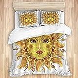 XMTMR-Glass Bettbezug-Sets Bettlaken,Abstrakte Sonne Ethnische himmlische böh, 3-teiliges Bettwäscheset mit 2 Kissenbezügen in doppelter Größe 200x200cm (78x78 Zoll)