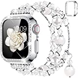 wlooo Correa + Glitter Diamante Funda Compatible con Apple Watch 38mm 40mm 42mm 44mm, Mujer Niña Natural de ágata elástico Cristal Pearl Pulsera de repuesto Para iWatch Series 6 SE 5 4 3 2 1 (38mm)