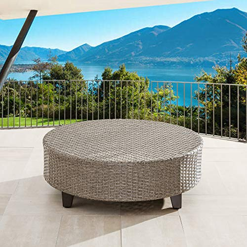 LOKATSE HOME Outdoor Rattan Furniture Patio Wicker Round Side Coffee Table, Brown