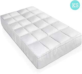 Mattress Topper Giselle Bedding King Single Size 5CM Thick 1000gsm Duck Feather Down Filling Baffle Box Design Breathable Mattress Topper with Removal Cotton Japara Fabric Cover Elastic Skirt for Home Hotel Camp Trip