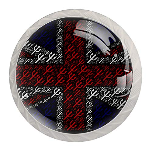 Kitchen Cupboard Handles Diamond Shaped Glass Knobs Pulls Hardware with Screws Britain UK Flag Trident Union Jack 4 Pack