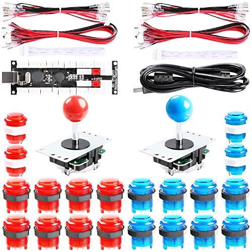 Easyget 2-Player DIY Arcade Kit Zero Delay 2-Player USB Encoder + 2X Joystick + 20x LED Arcade Buttons for PC, Windows, MAME, Mac & Raspberry Pi Retro Gaming DIY (Red & Blue)